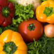 Stock Photo: Background with lots of vegetables