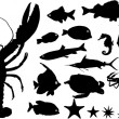 Stock Vector: Many silhouettes of water animals