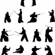 Stock Vector: Many silhouettes of samurai combat