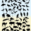 Stock Vector: Many silhouettes of different animals and birds