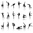 Silhouettes of gymnast girls - Stock Vector