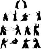 Many silhouettes of samurai combat — Stock Vector