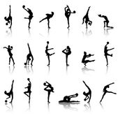 Silhouettes of gymnast girls — Stock Vector