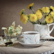 Tea with the dandelions. - Stock Photo