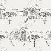 Winter snow-covered village with a bird and a tree. Seamless pattern — Stock vektor