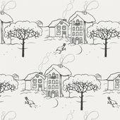 Winter verschneite dorf mit einem vogel und einem baum. nahtlose muster — Stockvektor