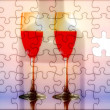 Puzzled red wine glasses — Stock Photo