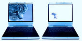 Laptop fare ve kedi — Stok fotoğraf
