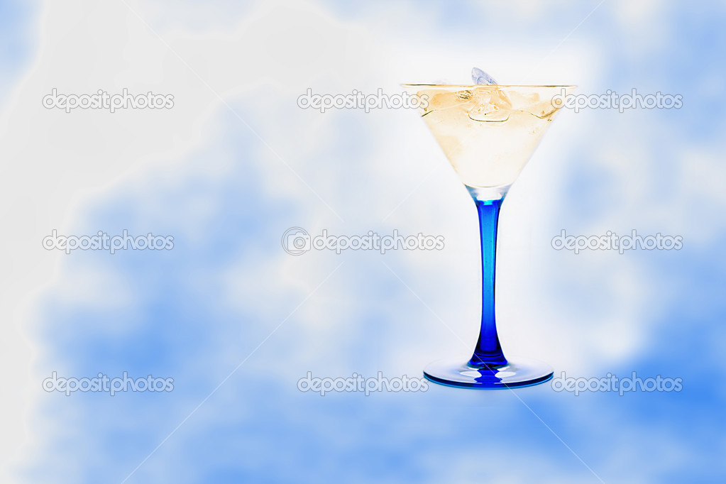 Blue glass with drink and ice cubes  Stock Photo #4593377