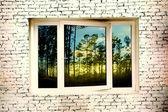 Brick wall window — Stock Photo