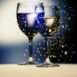 Wine gold glasses — Stock Photo