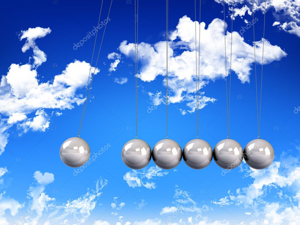 Newton`s   Pendulum on blue sky with clouds background — Stock Photo #5147926