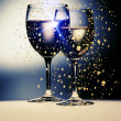 Stock Photo: Wine gold glasses