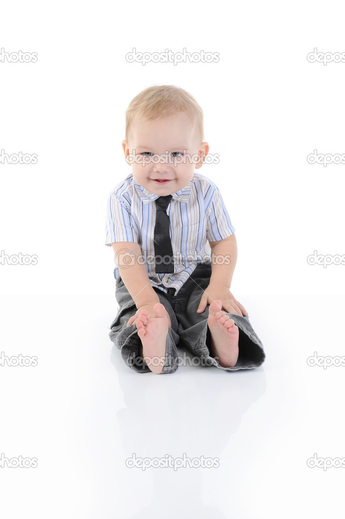 Portrait of a happy blue-eyed boy. Isolated on white background — Stock Photo #5239043