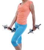Girl athlete dumbbell — Stock Photo