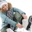 Girl with skates — Stock Photo