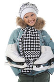 Meisje met schaatsen — Stockfoto