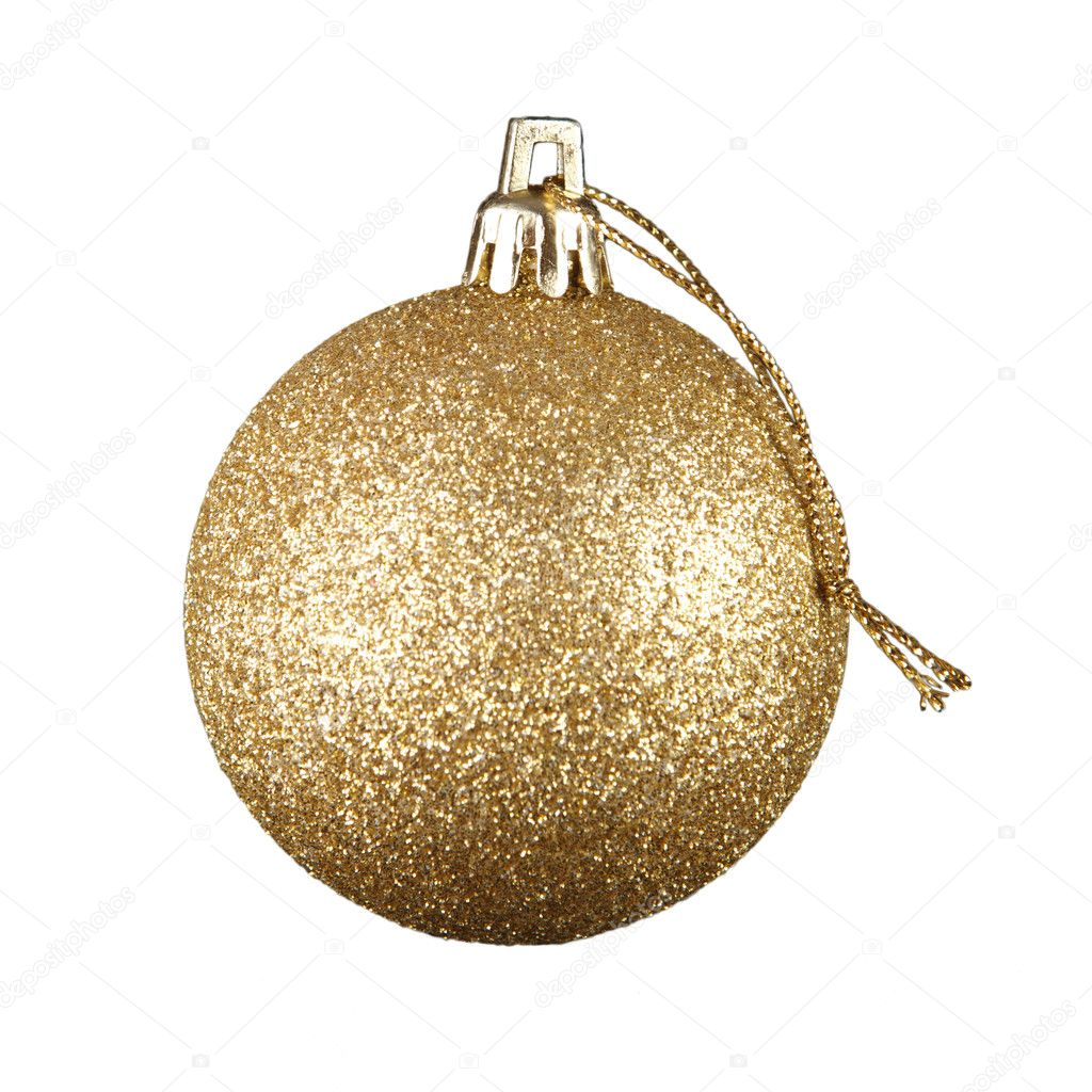 Golden Christmas ball toy isolated on white background  Stock Photo #4398658
