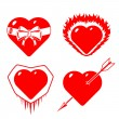 Stock Vector: Set of different stylised hearts
