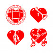 Set of the stylised closed hearts. — Stock Vector