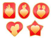 Conjunto de placas en el amor. — Vector de stock