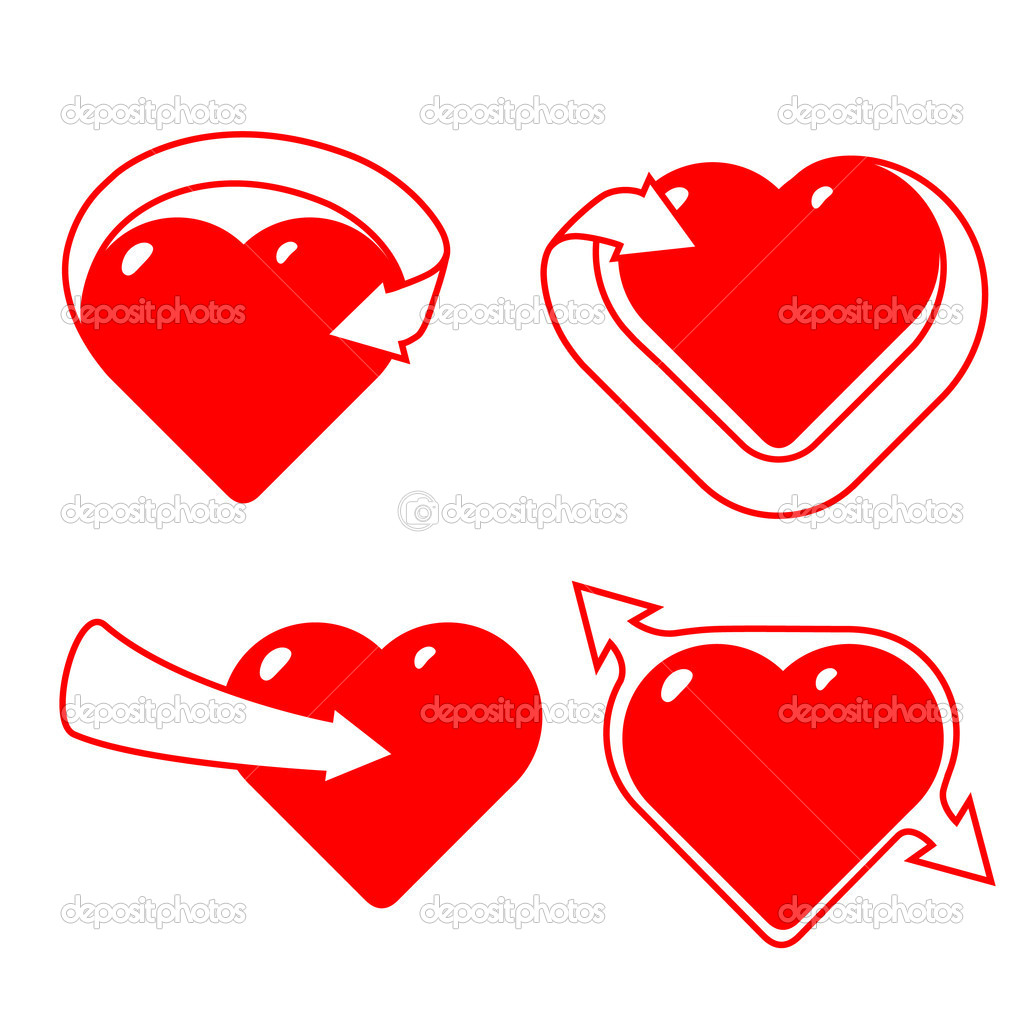 Four hearts with ribbons in the form of arrowsIllustration is easily edited. Isolated on white background. This is vector illustration eps8. — Stock Vector #4934570