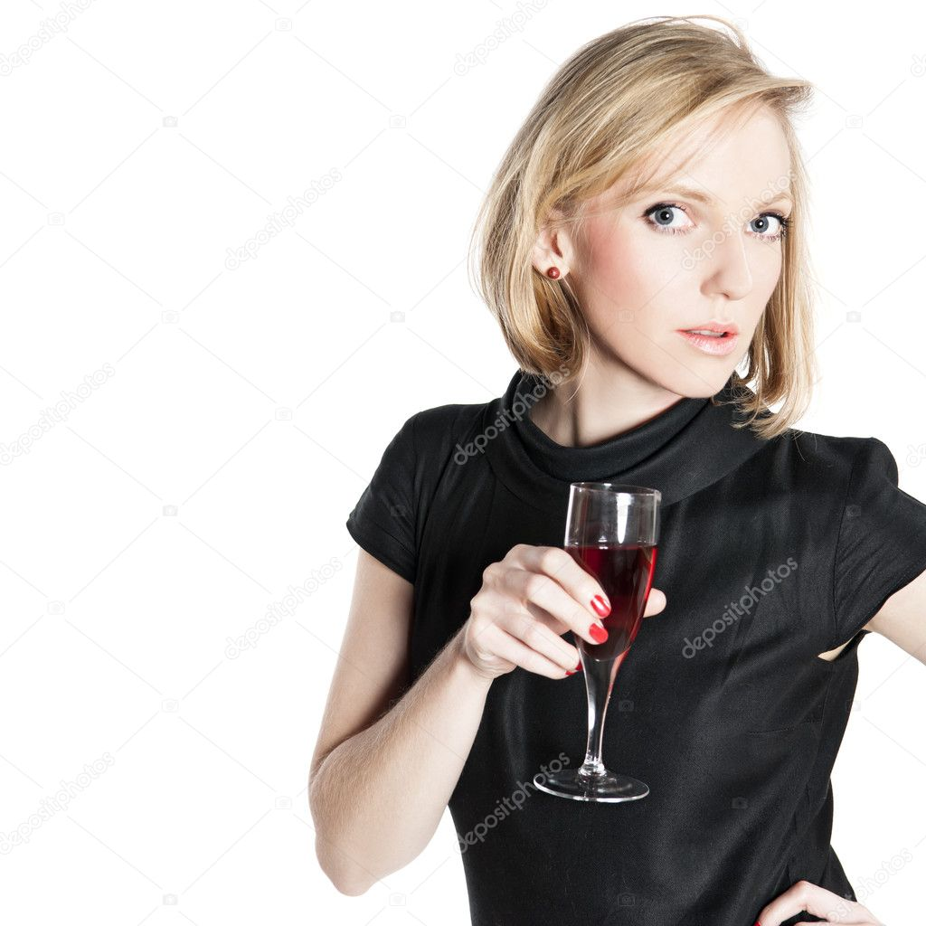 Young attractive woman holding a glass of red wine — Stock ...