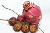 Pitaya and Rambutan — Stock Photo