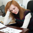 Businesswoman was tired of work — Foto de Stock