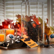 Stock Photo: Halloween decorations with candles