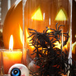 Spiders in glass container for Halloween — Stockfoto #4039279