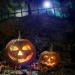 Halloween pumpkins on rocks  at night - Stock Photo
