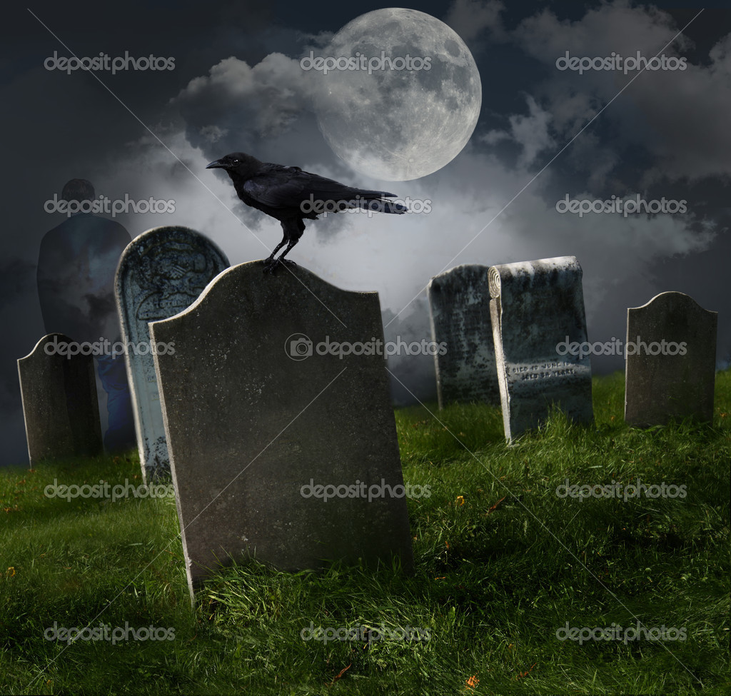 Cemetery with old gravestones, moon and black raven — Stock Photo #4039403