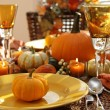 Place settings ready for thanksgiving - Stock Photo