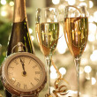 Champagne glasses ready to bring in New Year — Stock Photo #4175474
