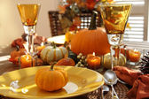 Place settings ready for thanksgiving — Stok fotoğraf