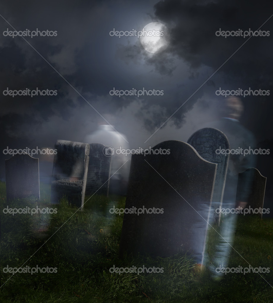 Ghosts wandering in old cemetery with full moon  Stock Photo #4175455