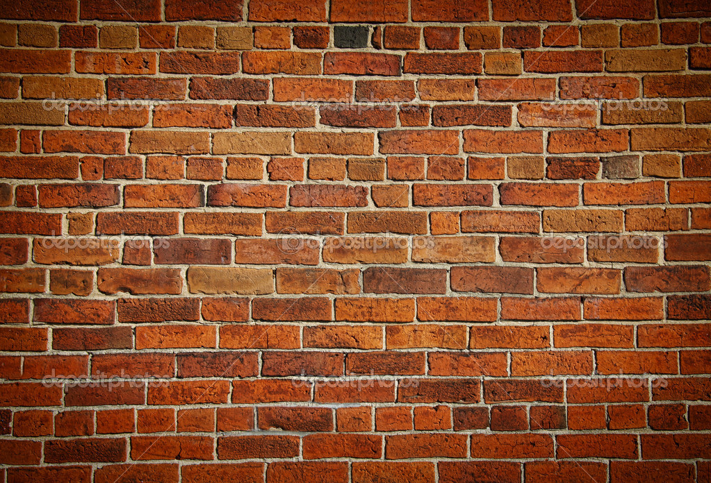 Weathered stained old brick wall background  Foto de Stock   #4175487