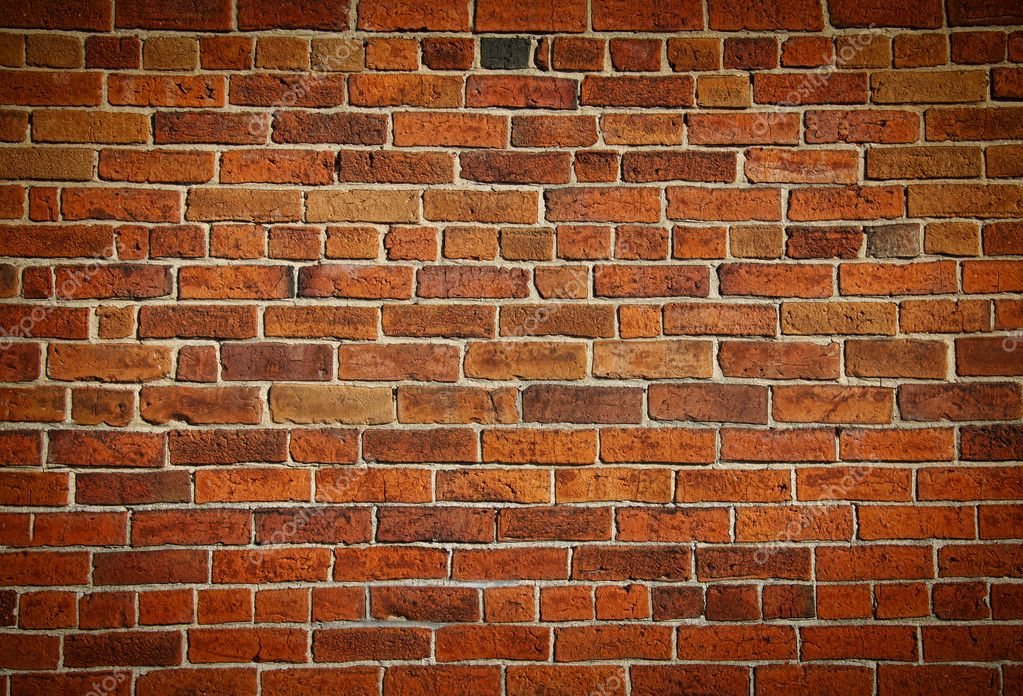 Weathered stained old brick wall background  Stock Photo #4175487