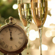 Countdown to celebrations with champagne — Stock Photo