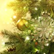 Christmas tree decorations with sparkle background - Foto Stock