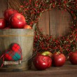 Apples in wood bucket for holiday baking — Stock Photo