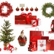 Group of Christmas objects isolated on white - Stok fotoğraf