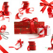 Foto Stock: Different sizes of red ribbons and gift wrapped boxes on white
