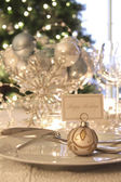 Elegant holiday dinner table with focus on place card — Foto de Stock