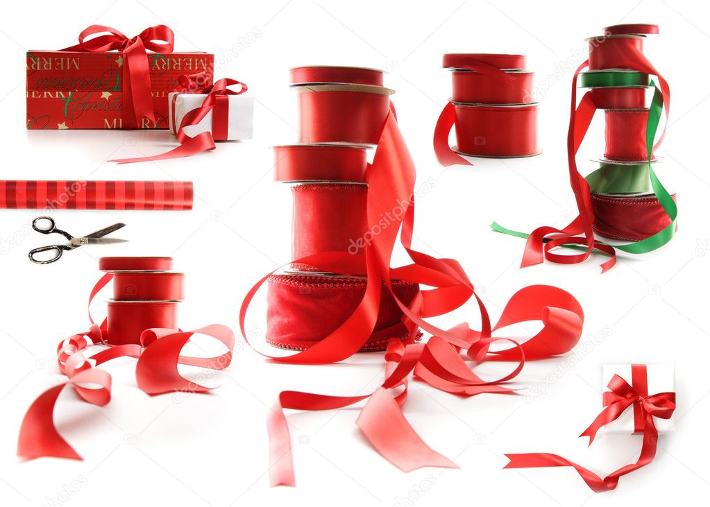 Different sizes of red ribbons and gift wrapped boxes on white background  Zdjcie stockowe #4340619