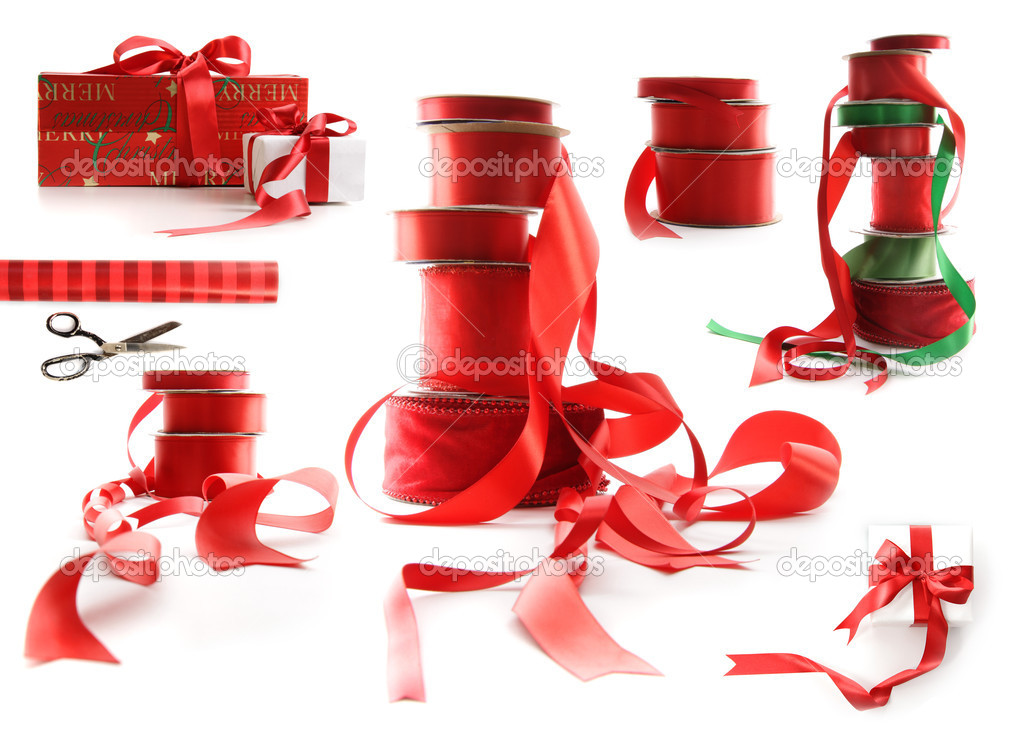 Different sizes of red ribbons and gift wrapped boxes on white background  Stok fotoraf #4340619