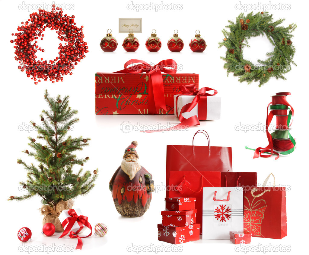 Group of Christmas objects isolated on white background — Lizenzfreies Foto #4340645