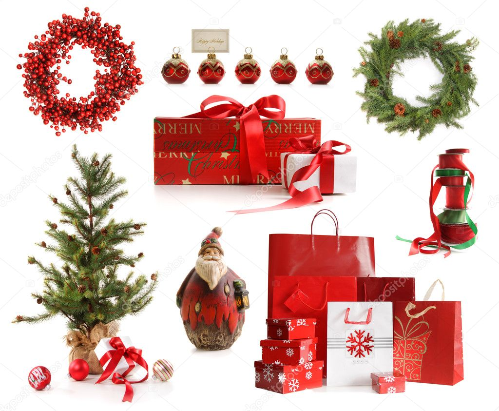 Group of Christmas objects isolated on white background — Stok fotoğraf #4340645