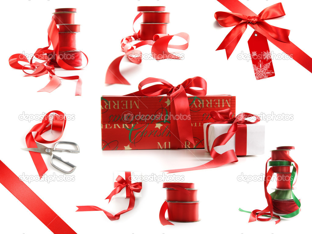 Different sizes of red ribbons and gift wrapped boxes isolated on white background   #4340646